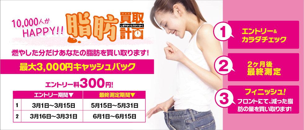 【最大3,000円キャッシュバック!】脂肪買取計画